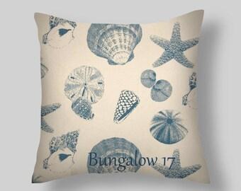 DECORATIVE THROW Pillows  Blue Throw Pillow Cover  Blue pillows  Accent Pillows All sizes Shells  Beach Cottage