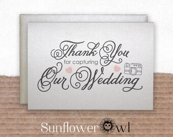 Thank you for capturing our wedding, thank you card for wedding photographer, from newlyweds, wedding party gift ideas