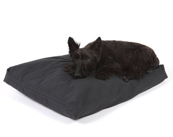 Black Twill Rectangular Dog Bed Cover