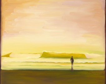 GICLEE Fine Art Reproduction on 8.5x11 PAPER - Ebb & Flow by Daina Scarola (surf art, sunset wave, surfer silhouette)