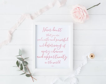 Hillary Clinton quote print, Feminist quote, Watercolor print, Digital print, Instant download, Nasty Woman print