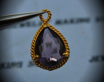 Gold Plated Rope Rim Bezel Brass Faceted Glass Tear Drop Pendant - Amethyst