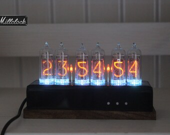 IN-14 Nixie tube Clock assembled with black acrylic and dark wooden ENCLOSURE and adapter 6-tubes by MILLCLOCK