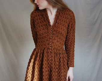 RARE Claire McCardell 50s Orange Dress Knit Clasps