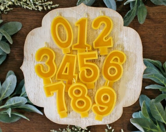 Beeswax Birthday Number Candle - Single Digit - Birthday Candle - Birthday Candles - Birthday Party - Candles - Celebrate - Beeswax - Garden