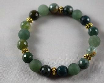 Women's Bracelet with Indian Agate & Green Aventurine