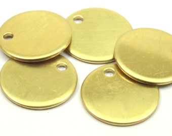 Brass Stamping Tag, 10 Raw Brass 15mm Stamping Tags , 18 Gauge B0104