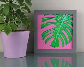 Tropical Leaf Screen Print, Monstera Leaf Screenprint, Square Screenprints, Cheese Plant Art Print, Tropical Art Print, Cheese Leaf Print