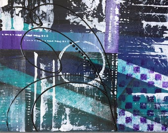 Purple Teal Black, Cool Artwork, 8x10 Awesome Modern Abstract Art, Acrylic Canvas Painting, Abstract Wall Art, Contemporary Home Decor
