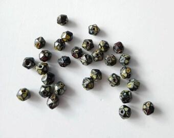 Black Patterned Czech Glass beads