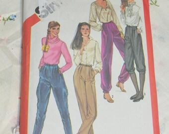 Simplicity 5236 Misses StraightLeg Pants Banded Pants Knickers and Jodhpurs Sewing Pattern - UNCUT - Size 6 Waist 58CM