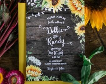 Rustic Wedding Invitation, Rustic Sunflower Invitation, Country Wedding Invitation, Wood Wedding Invitation, Sunflower Wedding Invitation