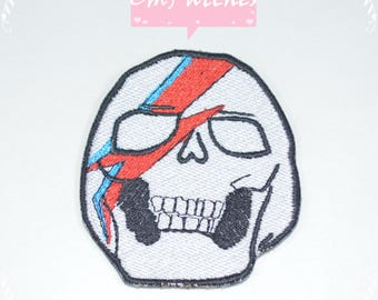 Cool Skull Patches.2.5 inch Red and Blue Skull Patches. Custom Patches. Iron on, Sew on,Hook and Loop Patches.