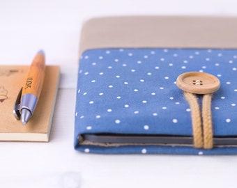 Macbook Pro 13 case, Macbook Air case, Macbook sleeve, Macbook Pro sleeve, Laptop sleeve 14 inch, Laptop bag women, Blue Brown, Polka dot