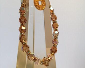 Enhance Prosperity & Abundance with this Powerful, Sacred Energy Infused Swarovski Crystal  Bracelet by Crystal Vibrations Jewelry (Yin)