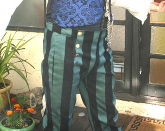 Emerald Green and Black Wide Stripe 6 Button Flap Front Steampunk Tapestry Pants