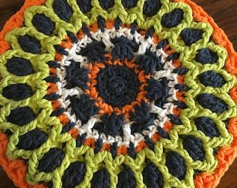 Crochet mandala hot pad trivet - cotton