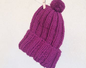 CLEARANCE | FINAL SALE | Hand knit Beanie, Raspberry Red, Warm Toque, Wool Hat, Winter Women Pom-Pom Hat