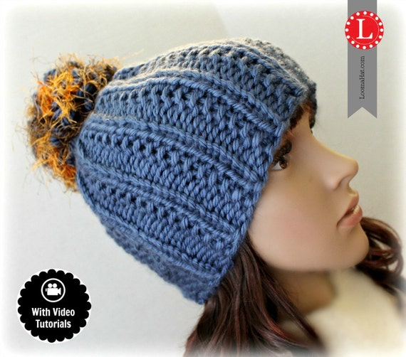 Loom Knitting Pattern Farrow Stitch Hat With Step By Step