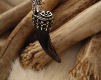 wolf claw and pentacle pendant necklace in sterling silver
