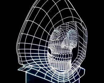 3D illusion Death Acrylic Leds Sign Laser Engraved  USB Desk Model - Multiple Colors  Remote Control - 6 inches wide fast shipping 08