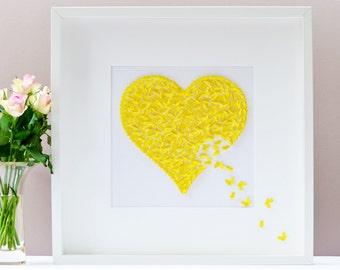 Yellow Butterfly Wall Art, Yellow Heart Wall Art, Memorial Yellow Butterfly Wall Art, Spiritual Wall Art, Holy Spirit Wall Art