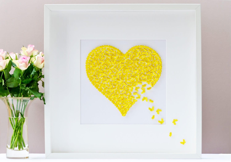 Yellow Butterfly Wall Art Yellow Heart Wall Art Memorial
