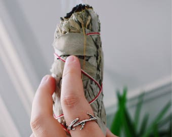Recycled silver twig ring