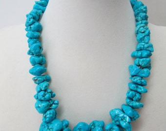Large turquoise magnesite nugget necklace and earrings