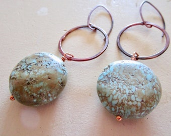 Turquoise & Copper CIRCLE Earrings - Etsy Jewelry - catROCKS - Dangle - Grace Frankie - Handmade - Round - Teal - Stone - Matrix - Brown