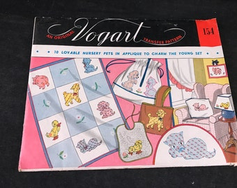 Vintage Vogart Nursery Pets in Applique Transfer Pattern