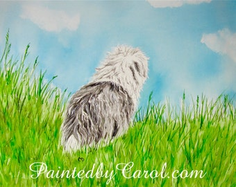 Old English Sheepdog Print, OES Painting, Sheepdog Art, Sheepdog Painting, Painting of Sheepdog, Dulux Dog Painting, OES Print