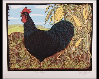 linocut, rooster, black cockerel, henhouse, farm animals, black rooster, chinese zodiac, printmaking, corn field, landscape art, bird print