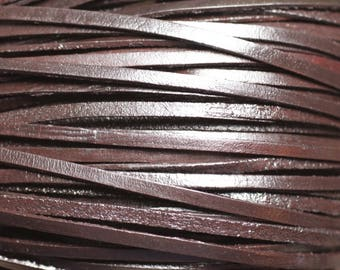 4 m - leather cord 3mm genuine Brown Coffee 4558550019004