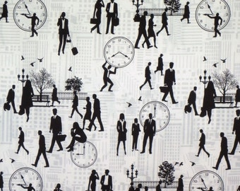 Black on White and Gray Rush Hour Print Pure Cotton Fabric--One Yard