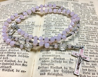 Rosary small pocket rosary antique crucifix and center pink crystal Our Lady and Sacred Heart Catholic rosary beads  by Rosenkranz-Atelier