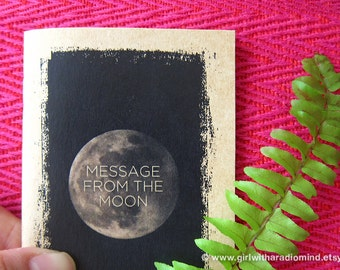 Moon Notebook 55 - Mini Pocket Size - Custom Message From the Moon Small Travel Journal - Personalized Lunar Cover