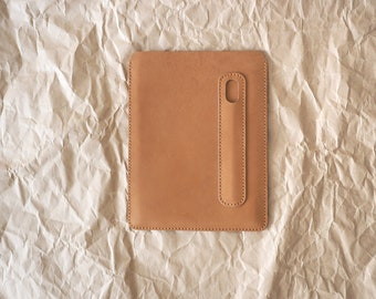 iPad 9.7 inch leather cover. iPad and Apple Pencil holder. iPad Pro 9.7 leather case. Light brown color. ROUGH