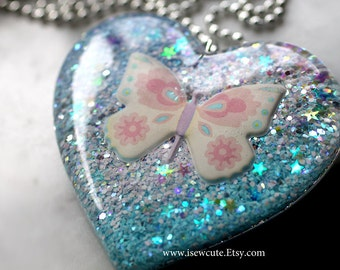 Butterfly Necklace Cotton Candy Color Jewelry, Resin Statement Jewelry, Huge Pastel Glitter Heart Necklace, Harajuku Style by isewcute
