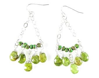 Green Garnet Chandelier Earrings, Garnet Dangle Earrings, Sterling & Garnet Earrings, Boho Earrings