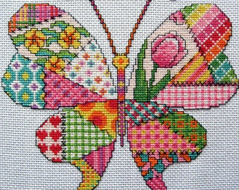 Patchwork Butterfly Cross Stitch Pattern. PDF Instant Download