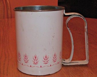 Vintage Pink & White ANDROCK Flour Sifter