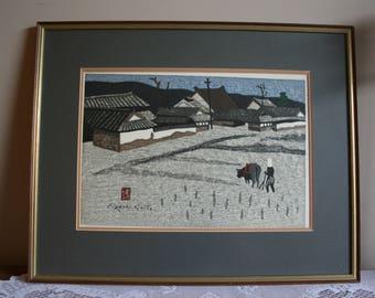 Kiyoshi Saito art Plowing or harvest from the set the seasons wood block print