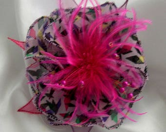 Flower brooch made of fabric, organza, feathers and beads, 180 *.