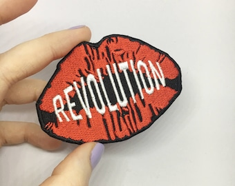 REVOLUTION iron on embroidered patch / feminist embroidery / riot grrrl badge / bikini kill