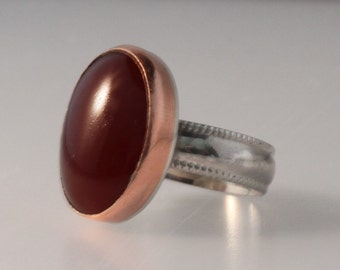 Carnelian with Copper Bezel and Sterling Silver Ring