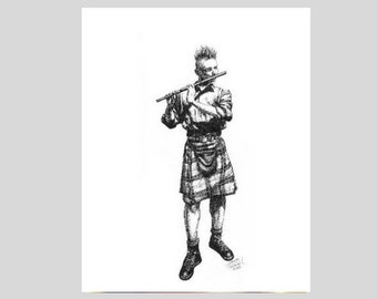"Great Scot (5""x7"" art print)--pen and ink drawing of Scottish punk rocker with mohawk, tartan kilt, flute busking in Edinburgh"
