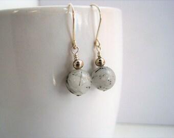 Rutile Quartz Earrings / Natural Stone Earrings / Beaded Drop Earrings / Black & White