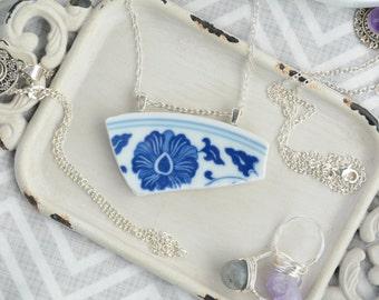Broken China Plate Pendant Necklace