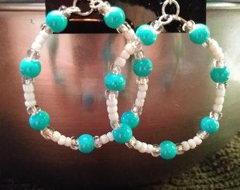Turquoise & White Hoop Earrings